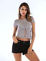 preiswerte -Damen Solide - Aktiv T-shirt Ausgehöhlt