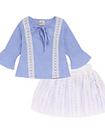 cheap -Girls' Daily Going out Geometric Clothing Set, Cotton Polyester Spring Summer Long Sleeves Active Street chic Light Blue