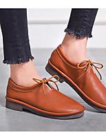 abordables -Femme Chaussures Cuir Cuir Nappa Printemps Automne Confort Oxfords Talon Bas pour Noir Amande Brun claire