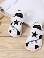abordables -Fille Garçon Chaussures Cuir Eté Premières Chaussures Confort Sandales pour Décontracté Blanc Noir