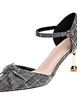 abordables -Mujer Zapatos Tejido Primavera Confort Tacones Tacón Stiletto Dedo Puntiagudo Pajarita Beige / Gris