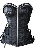 abordables -Cosplay Steampunk Costume Femme Bustier Sur Poitrine Noir Vintage Cosplay Polyester Sans Manches