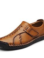 abordables -Homme Chaussures Cuir Printemps Eté Chaussures de plongée Confort Basket pour Décontracté De plein air Noir Brun claire Brun Foncé