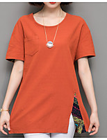 cheap -Women's Basic T-shirt - Solid Colored Color Block Patchwork