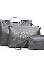cheap -Women's Bags PU Bag Set 3 Pcs Purse Set Zipper for Office & Career Red / Gray / Brown