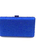 preiswerte -Damen Taschen Satin Metall Abendtasche Kristall Verzierung für Hochzeit Veranstaltung / Fest Formal Ganzjährig Blau Schwarz Silber Fuchsia