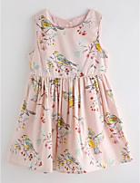 cheap -Girl's Daily Houndstooth Dress, Cotton Linen Summer Cute Basic Blushing Pink