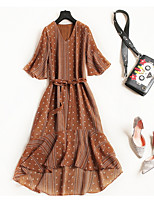 cheap -Women's Vintage / Street chic A Line / Swing Dress - Solid Colored Lace up