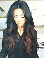 cheap -Unprocessed Wig Malaysian Hair Wavy Middle Part Layered Haircut 130% Density With Baby Hair Dark Roots Ombre Hair Brown Long Mid Length