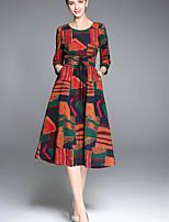 abordables -Femme Rétro Bohème Trapèze Robe - Imprimé, Géométrique Couleur Pleine Midi