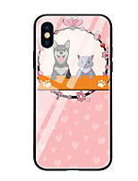 cheap -Case For Apple iPhone X iPhone 8 Pattern Back Cover Cat Dog Hard Tempered Glass for iPhone X iPhone 8 Plus iPhone 8 iPhone 7 iPhone 6s
