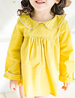 cheap -Girl's Daily Solid Colored Dress, Polyester Spring Long Sleeves Basic White Blushing Pink Yellow