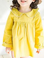 Недорогие -Девичий Платье Повседневные Полиэстер Однотонный Весна Длинный рукав Классический Белый Розовый Желтый