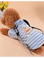 baratos -Cachorros Gatos Camiseta Roupas para Cães Listrado Urso Marron Azul Tecido de Algodão Ocasiões Especiais Para animais de estimação