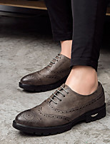 cheap -Men's Shoes Leatherette Spring Fall Comfort Oxfords for Casual Black Brown