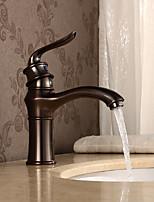 abordables -Robinet lavabo - Jet pluie Bronze huilé Vasque Mitigeur un trou