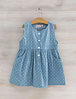 cheap -Girl's Daily Print Dress, Cotton Summer Sleeveless Cute Blue