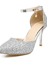 cheap -Women's Shoes Sparkling Glitter / PU(Polyurethane) Spring / Fall Comfort / Novelty Heels Stiletto Heel Pointed Toe Buckle Gold / Silver /