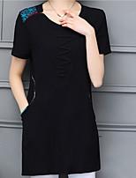baratos -Mulheres Camiseta Básico Patchwork, Sólido Estampa Colorida
