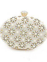cheap -Women's Bags Terylene Evening Bag Crystals / Pearls for Event / Party White
