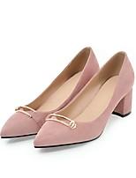 abordables -Mujer Zapatos Cuero Nobuck Primavera / Verano Confort / Pump Básico Tacones Tacón Cuadrado Dedo Puntiagudo Negro / Beige / Rosa