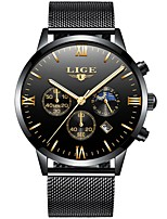 cheap -Men's Quartz Dress Watch Japanese Calendar / date / day Water Resistant / Water Proof Large Dial Moon Phase Three Time Zones Stainless