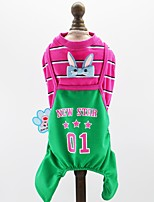 cheap -Dogs Cats Pets Jumpsuit Dog Clothes Striped Letter & Number Stars Fuchsia Green Blue Cotton / Polyester Costume For Pets Male One Piece