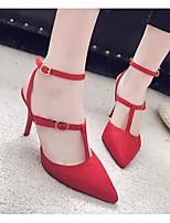 abordables -Femme Chaussures Cuir Nubuck Printemps Automne Escarpin Basique Confort Chaussures de mariage Talon Aiguille pour Mariage Noir Rouge