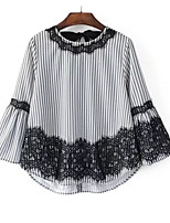 cheap -Women's Basic Blouse-Striped,Lace Patchwork