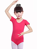 cheap -Ballet Leotards Girls' Training Performance Cotton Satin Bow Short Sleeves Natural Leotard / Onesie