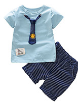 cheap -Kids Girls' Solid Colored Striped Short Sleeves Clothing Set