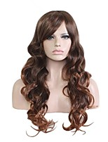 cheap -Synthetic Wig Wavy Side Part Layered Haircut Natural Hairline Brown Women's Capless Halloween Wig Celebrity Wig Party Wig Natural Wigs