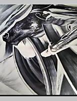 Недорогие -Hang-роспись маслом Ручная роспись - Абстракция Поп-арт Modern холст