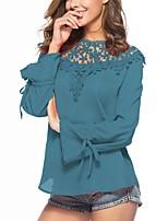 abordables -Mujer Básico Encaje Blusa, Cuello Barco Corte Ancho Un Color