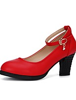 cheap -Women's Modern Shoes Synthetic Microfiber PU Heel Outdoor Chunky Heel Customizable Dance Shoes Black / Silver / Red