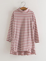 cheap -Girl's Daily Striped Dress, Cotton Spring Fall Long Sleeves Cute Blushing Pink Wine