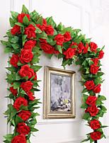 abordables -Fleurs artificielles 1 Une succursale Fête / Soirée / Mariage Roses Guirlande et Fleur Murale