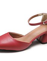preiswerte -Damen Schuhe PU Sommer Komfort High Heels Niedriger Heel Runde Zehe Weiß / Schwarz / Rot