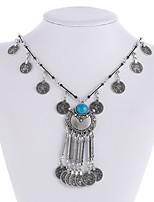 abordables -Mujer Collares Declaración  -  Metálico Étnico Forma de Círculo Plata 46cm Gargantillas Para Ceremonia Carnaval