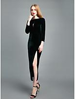 baratos -Mulheres Sofisticado Moda de Rua Tubinho Bainha balanço Vestido - Frente Única, Sólido Longo