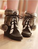 Недорогие -Жен. Обувь Полиуретан Зима Зимние сапоги Ботинки На плоской подошве Сапоги до середины икры для Черный Желтый Коричневый