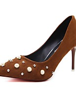 preiswerte -Damen Schuhe Frühling Komfort High Heels Stöckelabsatz Spitze Zehe Perlenstickerei Schwarz / Kamel