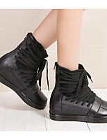 cheap -Women's Shoes Cowhide Fall Winter Combat Boots Boots Flat Heel Mid-Calf Boots for Black