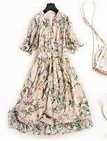 cheap -Miss French Women's Simple Street chic Flare Sleeve Swing Dress - Floral