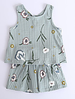 cheap -Unisex Holiday Floral Clothing Set, Cotton Summer Sleeveless Cute Green White