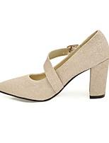 preiswerte -Damen Schuhe Paillette Frühling / Herbst Komfort High Heels Blockabsatz Spitze Zehe Schnalle Gold / Schwarz / Silber / Party & Festivität