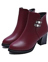 cheap -Women's Shoes PU Fall Winter Comfort Boots Chunky Heel Pointed Toe Booties / Ankle Boots Rhinestone for Black Burgundy