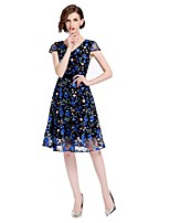 cheap -SHE IN SUN Women's Basic Street chic Skater Dress - Floral Embroidered