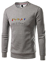 cheap -Men's Basic Sweatshirt - Solid Colored Letter, Print