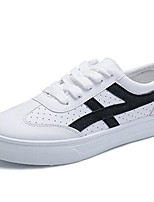 cheap -Women's Shoes PU Spring Comfort Sneakers Flat Heel Round Toe for White Black Red
